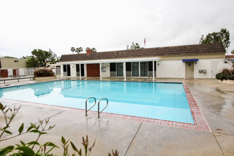 Chateau Blanc Fountain Valley California linear model resort with good swimming pool