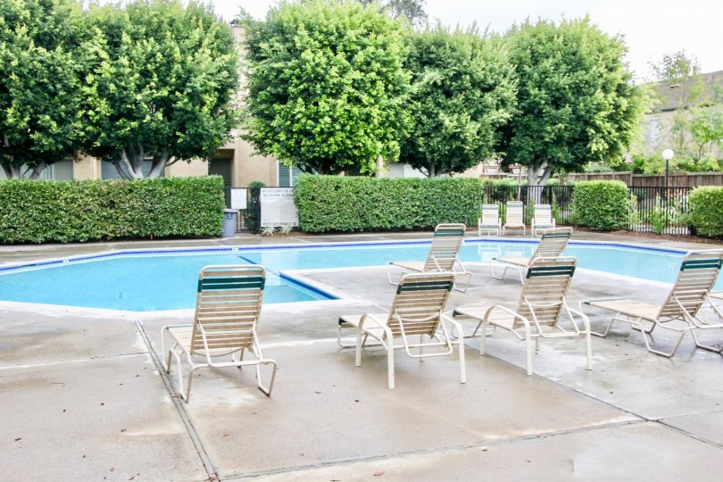 Fountain Park Valley California seems suitable for relaxation times with pool and cool chairs