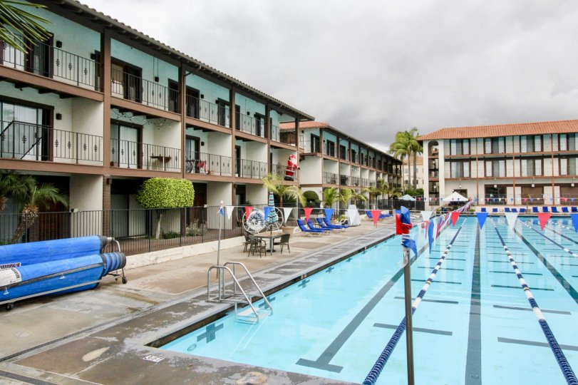 The rainy day in the Los Caballeros with swimming pool and chairs