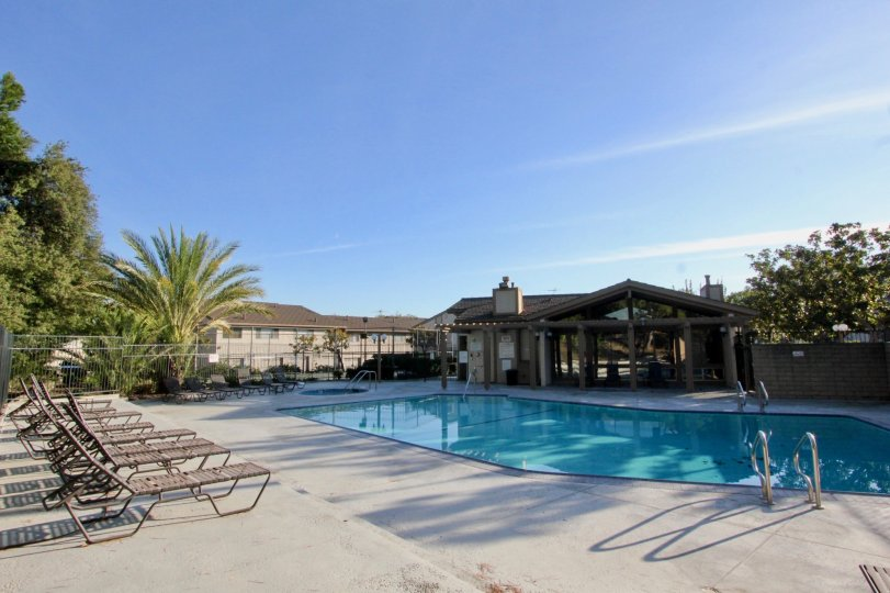 Pool and club house in Amberwood, Fullerton California
