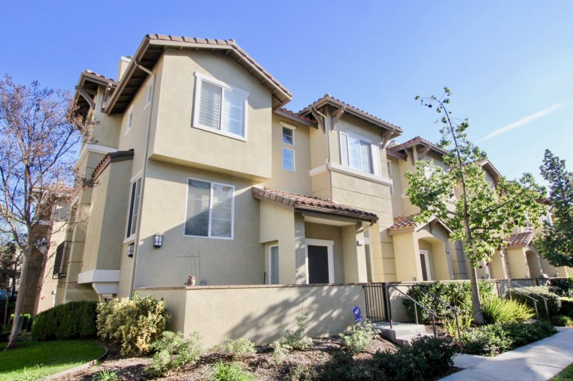 Very nice large light color townhomes with plants in Amerige heights community in fullerton, california.