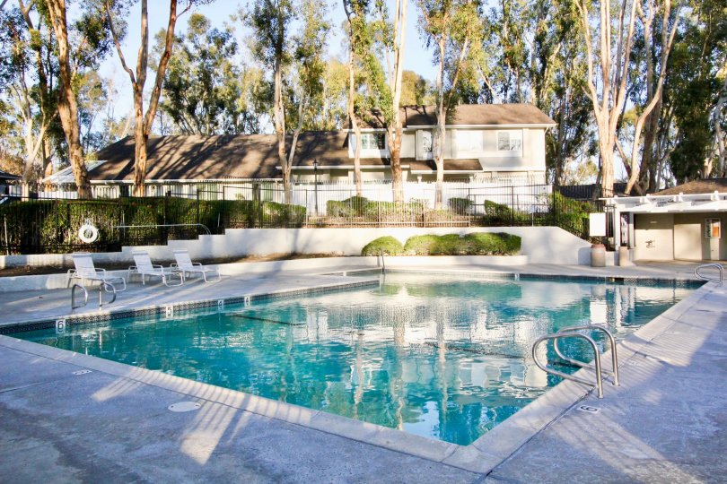 Villa's in Coyote Hills Bluffs has plenty of tallest tree with swimming pool and cutting bushes