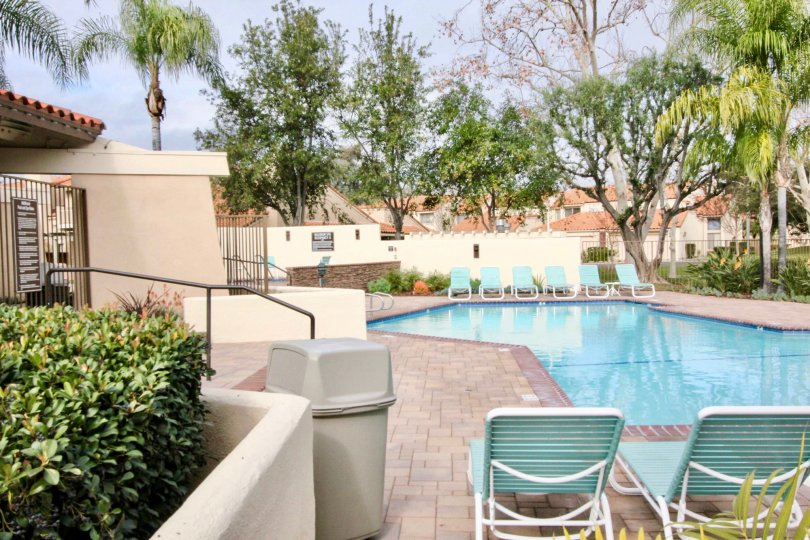 A cloudy day by the Fairway Village pool in Fullerton, California