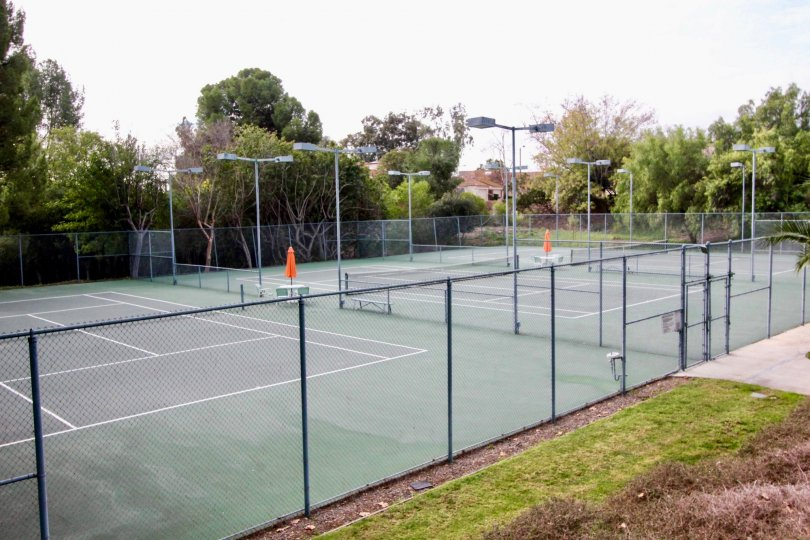 A sunny day in Fullerton California with tennis courts