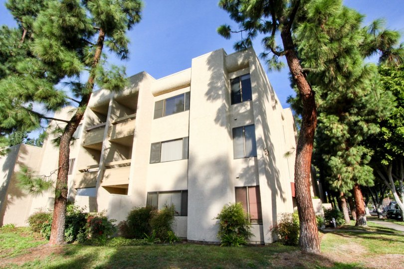 Three level housing with large windows in Fullerton Fountains community.