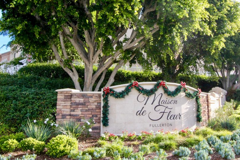 A sunny day at the entrance to the Maison de Fleur community in Fullerton, Californa