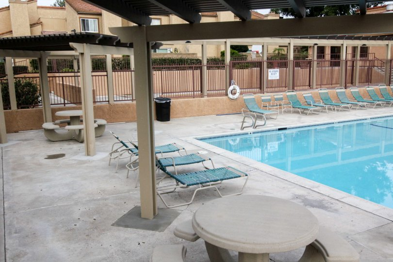 A sunny day beside the swimming pool at Mark III Townhomes in Fullerton California