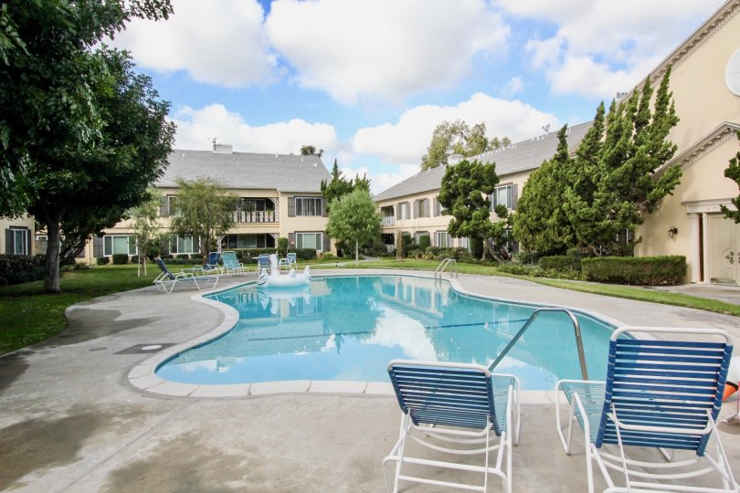 Big Swimming pool in a Sunny Day of a House of Meredith Manor in Fullerton, California