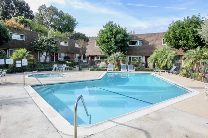 Monarch Manor in Fullerton has a beautiful pool and lovely landscaping.