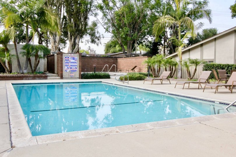 The pool area at Orchard Lane is clean and inviting to its residents.