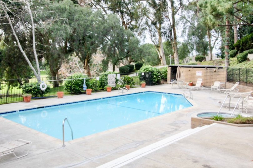Private gated swimming pool with chaise lounges and whirlpool spa, surrounded by plenty of foliage in Park Vista community, Fullerton, CA.