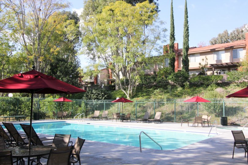 A gorgeous blue pool lined with outdoor furniture inside the Sunny Ridge Townhomesin Fullterton CA