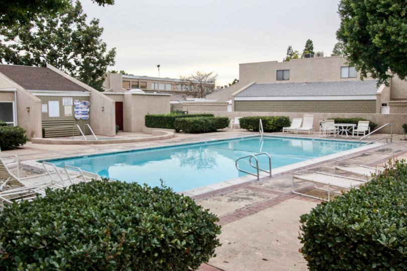 A quiet day by The Arbor community pool located in Fullerton, CA