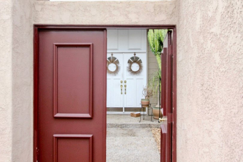 A doorway leading to another entrance in The Arbor neighborhood of Fullerton, California.