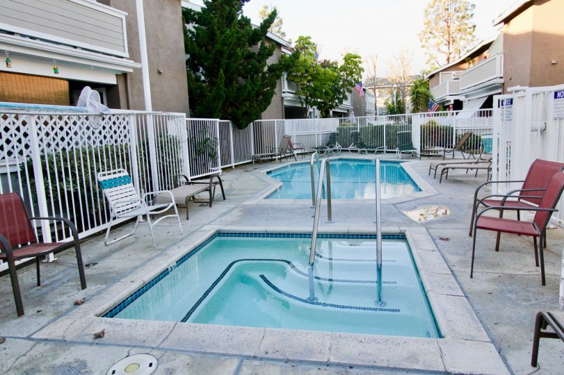 A pool and jacuzzi complex in an apartment complex locate in the Brookhaven Circle area of Garden Grove, California.