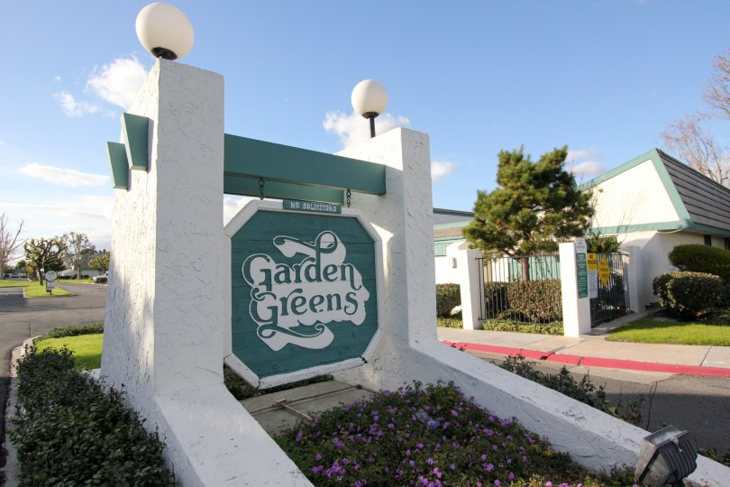 Entrance of Garden Greens community in Garden Grove city