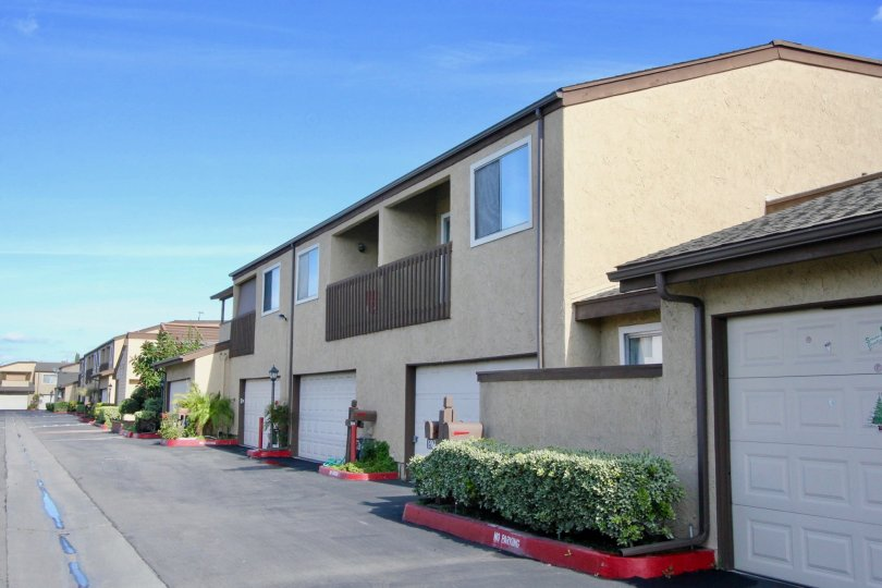 A set of balconied townhomes in the Garden Terrace Townhomes area of Garden Grove, California.