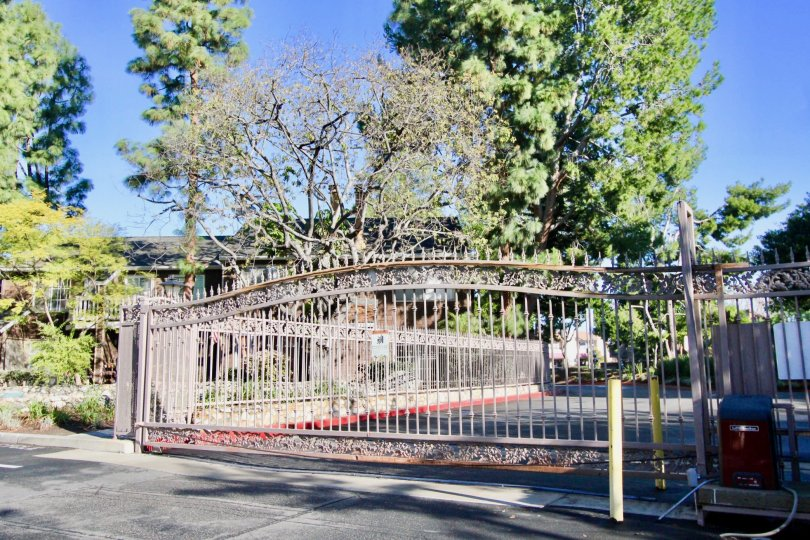 A large iron gate at the entrance of Lake Grove community