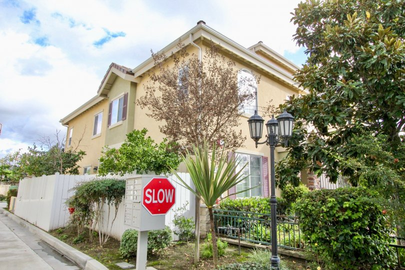 A residential complex alongside a street at Lorna Villa, in Garden Grove, California.