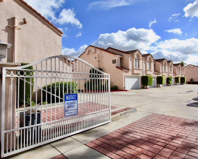 Sunny day at a gated complex in Garden Grove California
