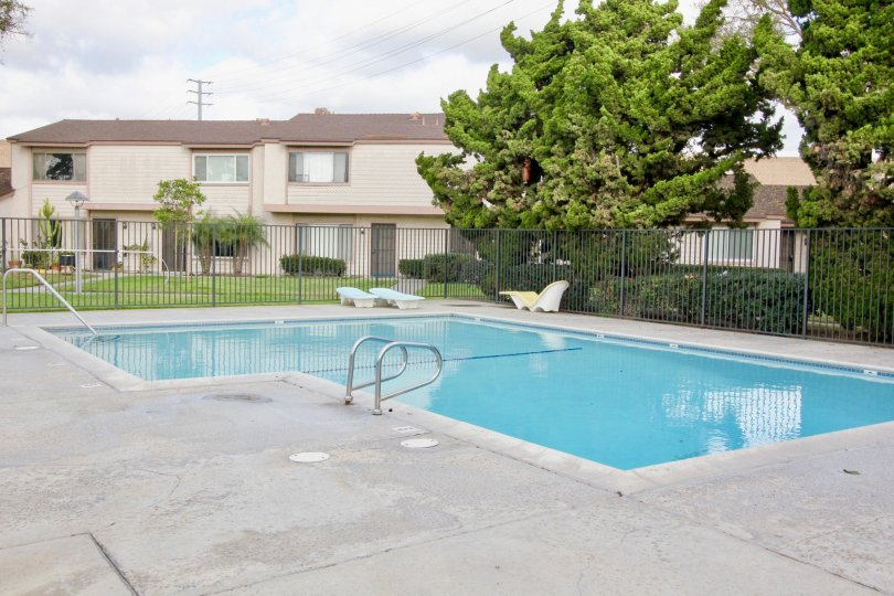 Overlooking the pool at New Brookdale apartments in Garden Grove, CA