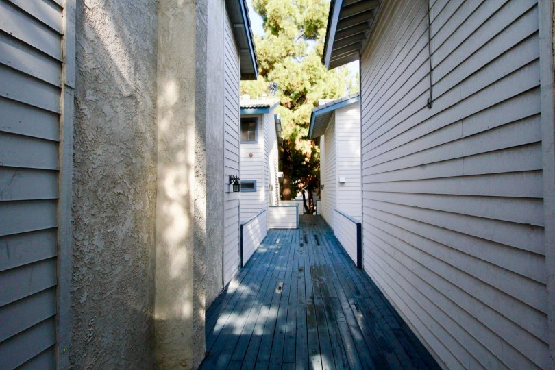 clean and clear wooden alley between buildings in Pine Villas