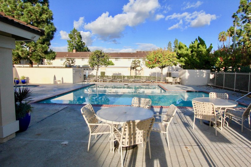 the pool and tables on a sunny day in valley view park garden grove cailfornia