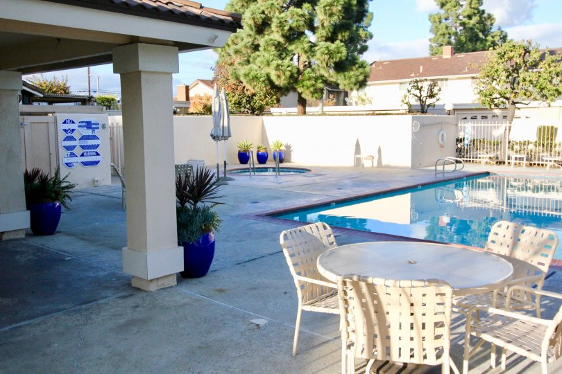 A clear day next to the pool and jacuzzi at the Valley View Park in Garden Grove, California