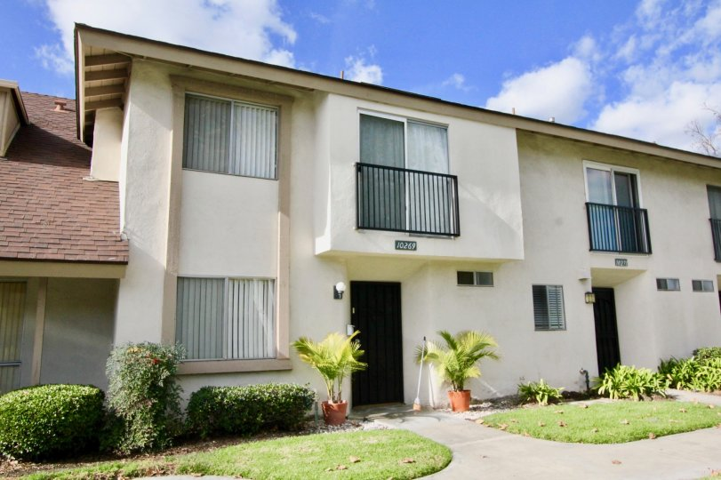 Two-story apartments and their front yards at Westbrook, in Garden Grove, California.