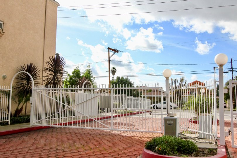 Entrance gate having spacious area in Yorkshire Townhomes of Garden Grove