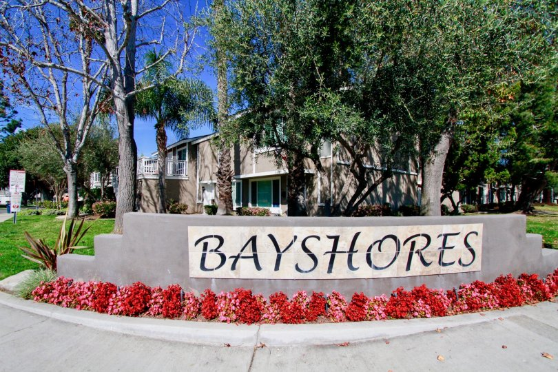 the welcom stone of the baystores in which it written in capital letter it in california
