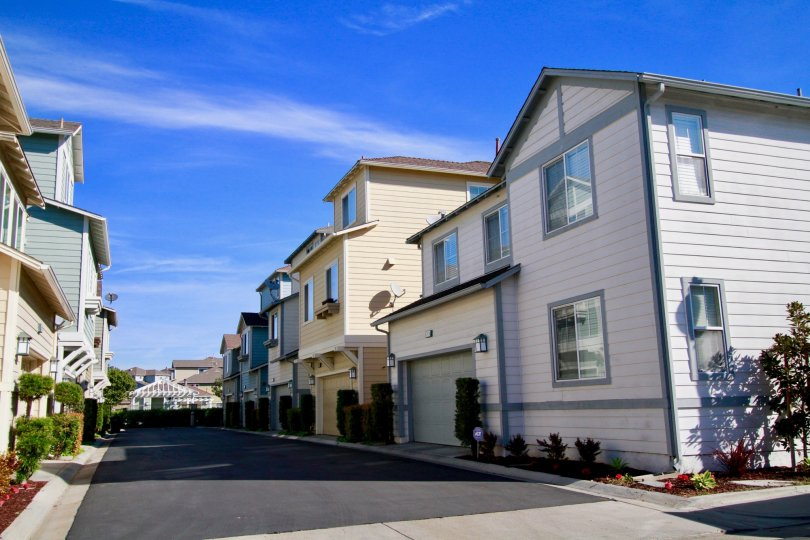 Beautiful blue sky with road point near villas in Cape Ann of Huntington Beach