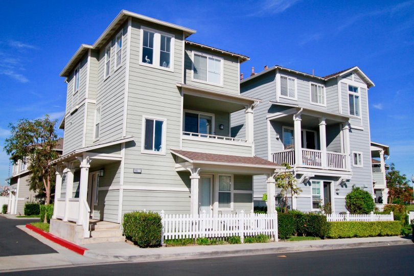 Nice sky view of villa with first floor and road point in Cape Ann in Huntington Beach