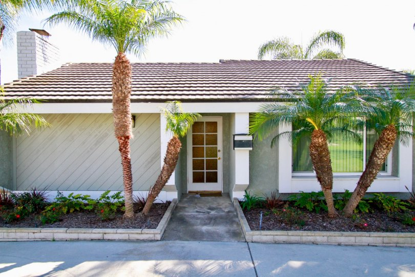 Nice view of Palm trees with entrance of a villa in Cherrywood Village of Huntington Beach