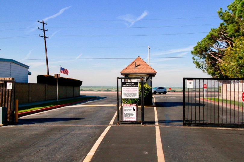 Gated security entrance to Gables in Huntington Beach