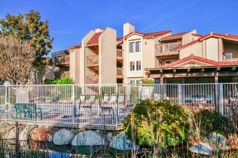Colourful apartments with trees and sitout in Harbour Vista of Huntington Beach