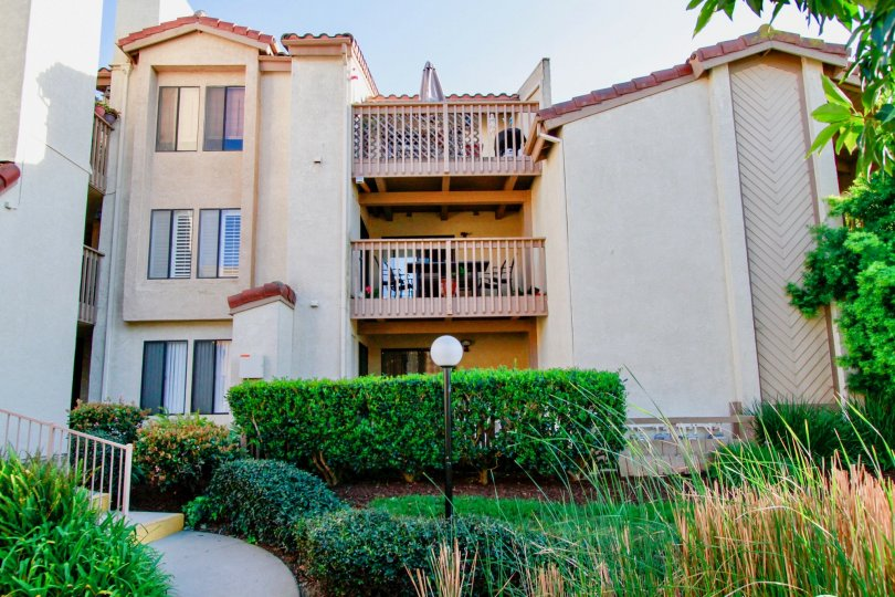 Awesome view of Apartment with balcony and front view with small garden in Harbour Vista of Huntington Beach