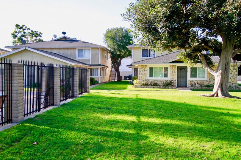 Fabulous greenish view of a lawn in front of villa with trees in Huntington Gardens of Huntington Beach