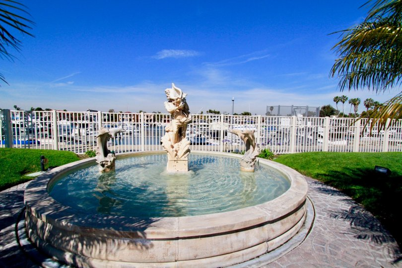Huntington Harbour Bay Club Huntington Beach California statue found rounded and water filled foundation