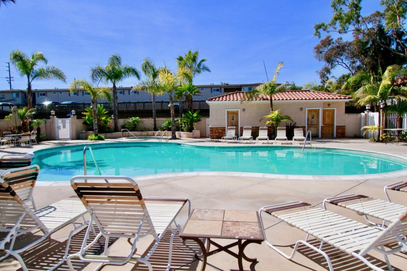 Las Brisas Huntington Beach California pool with many chairs and good shape