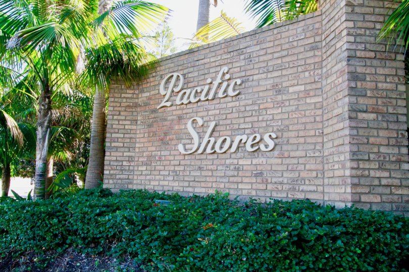 Pacific Shores stone sign with palm trees and bushes.