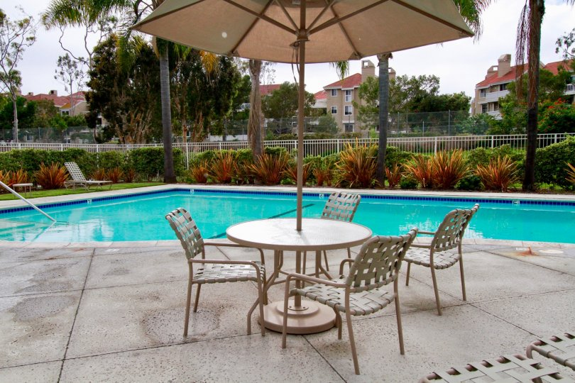 THE SWIMMING POOL WITH UMBRELLA SITTING CHAIRS FOR PROTECT THE SUNSHINE AND SOME PLANTS ALSO SURROUNDING THE POOL.
