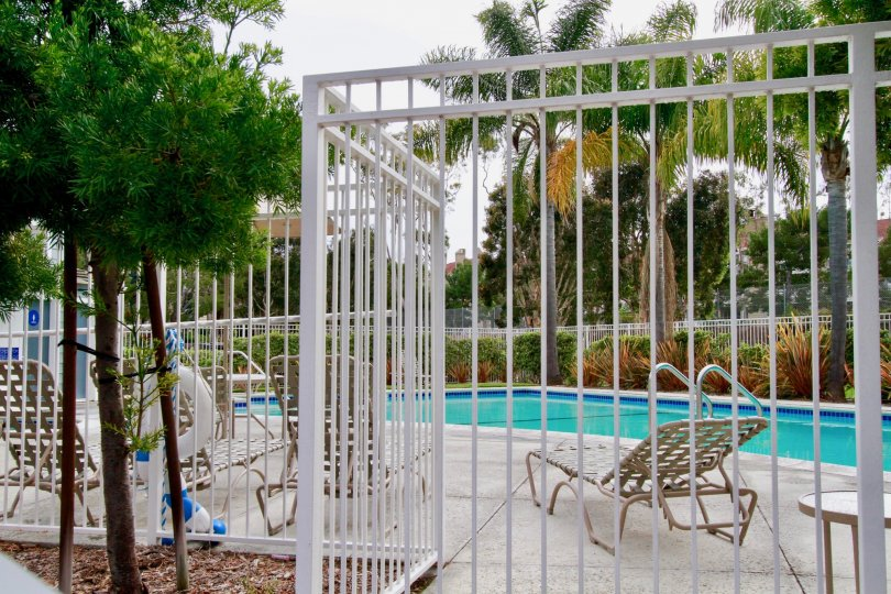 A cloudy day by the pool and palm trees in Huntington Beach with lawn chairs