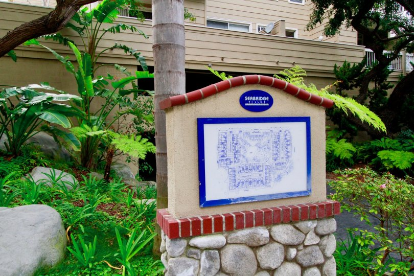 Seabridge Villas map with a palm tree and other plants around it