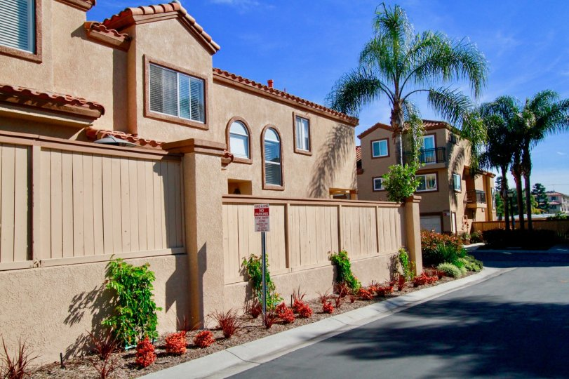 Seacliff Palms Huntington Beach California building near three palm tree house color light brown window glass attached