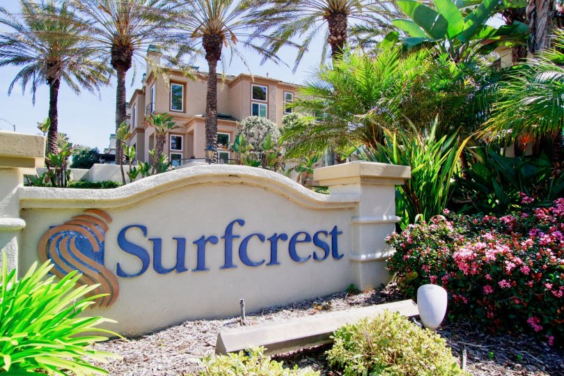 A stunning view of the entrance at Surfcrest, Huntington Beach, California