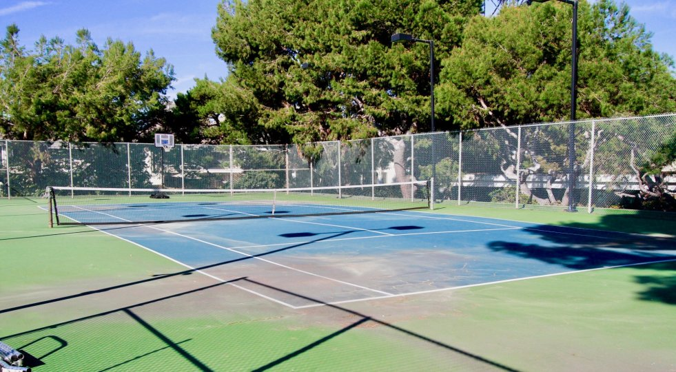 Warm day on the courts in the Tennis Estates community in Huntington Beach, California.
