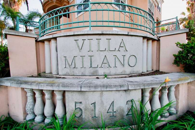 An overcast day at Villa Milano in Huntington Beach, California.