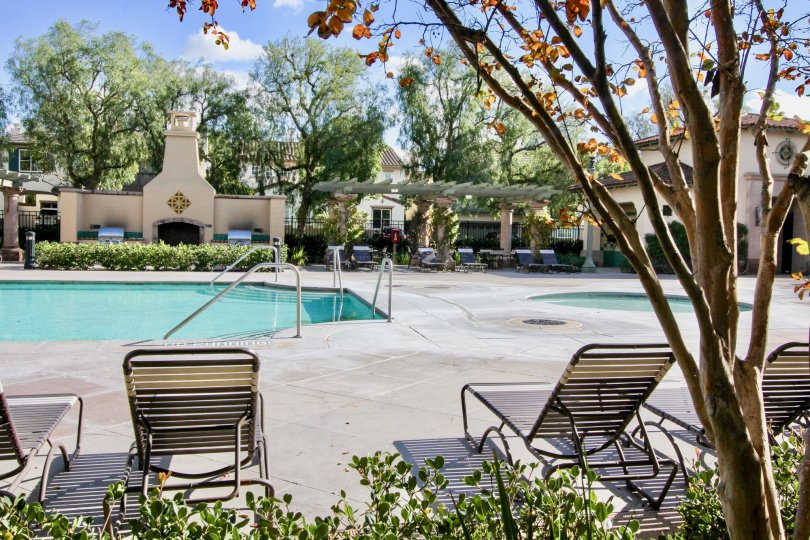 Inside the Apartment in Auburn has swimming pool with seating chairs and trees