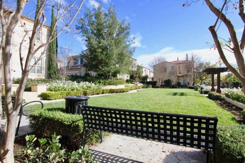 THIS IMAGE SHOWS THE GARDEN WITH PLANTS, BACKSIDE VILLAS ARE THERE IS IN IRVINE CITY
